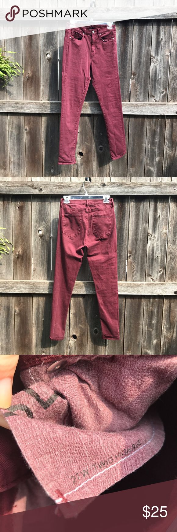 """BDG Twig High Rise Skinny Jeans These burgundy skinny jeans made by Urban Outfitters are so soft and comfortable! Cotton/Spandex Blend. Worn once - the waist didn't work for me. Labeled size 27. Waist 28""""; Inseam 29""""; Rise 11"""" Urban Outfitters Jeans Skinny"""