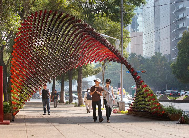 """Rojkind Arquitectos have designed the """"Portal of Awareness"""" installation in Mexico City. The designers were commissioned by the coffee brand Nescafé to use 1,500 coffee mugs to create the public installation."""
