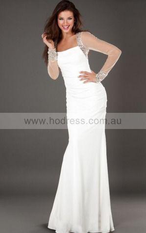 Mermaid Square Empire Long Sleeves Floor-length Evening Dresses zbh052--Hodress