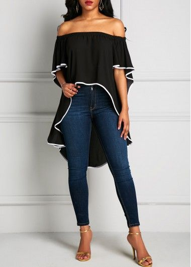 Black Off the Shoulder High Low Asymmetric Hem Top with contrast Trim