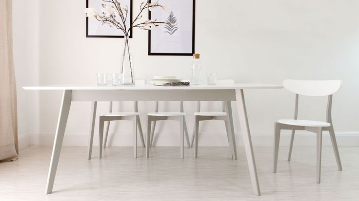 White and Grey Extending Dining Set - table with 8 chairs £687.00 Danetti.com