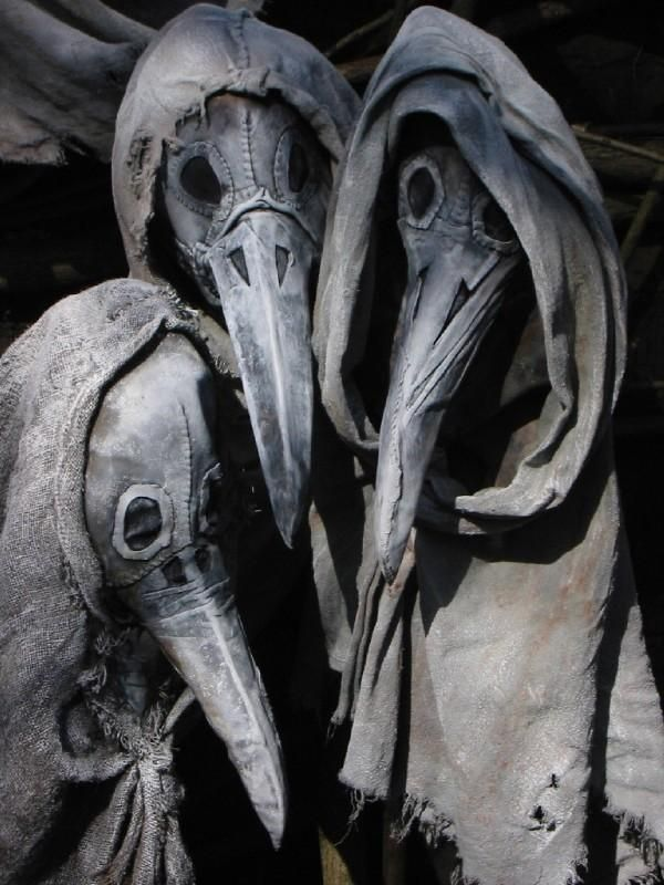 This scared the crap out of me. I love it. Plague Doctor masks :)