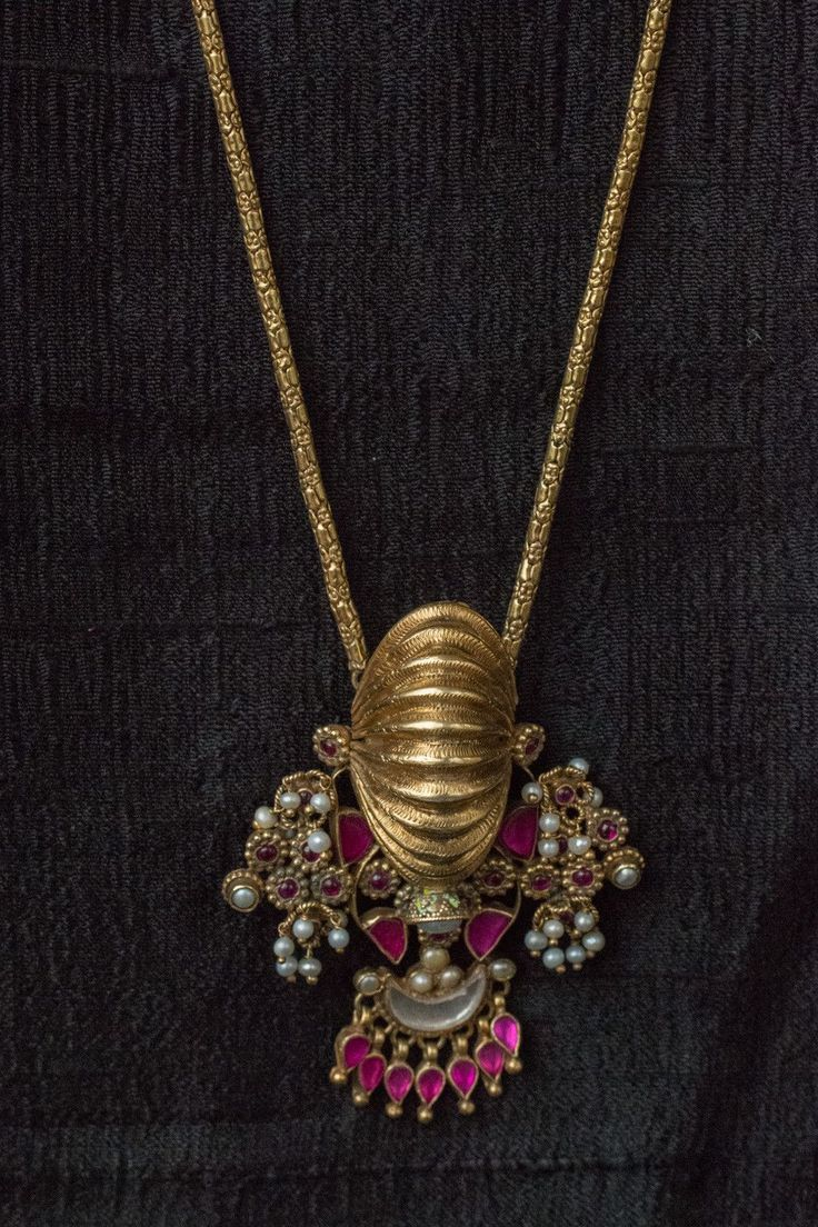 20A522 Silver Gold Plated Amrapali Necklace with Glass and Pearl