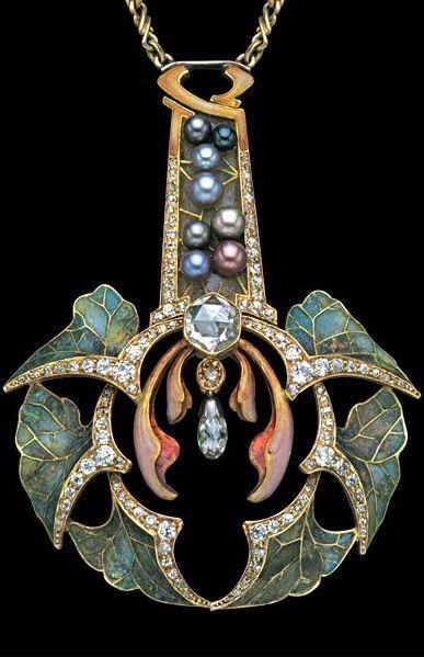 """shewhoworshipscarlin:  """"Art Nouveau pendant, 1902.  """""""