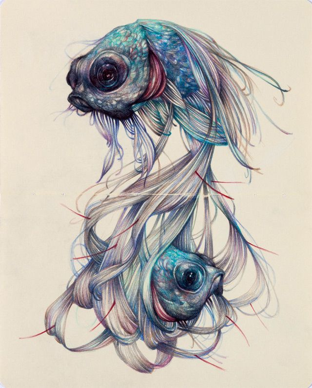 Marco Mazzoni ..works almost exclusively with colored pencils to create intricate drawings that depict the cycles of nature and worlds based heavily in Italian folklore.