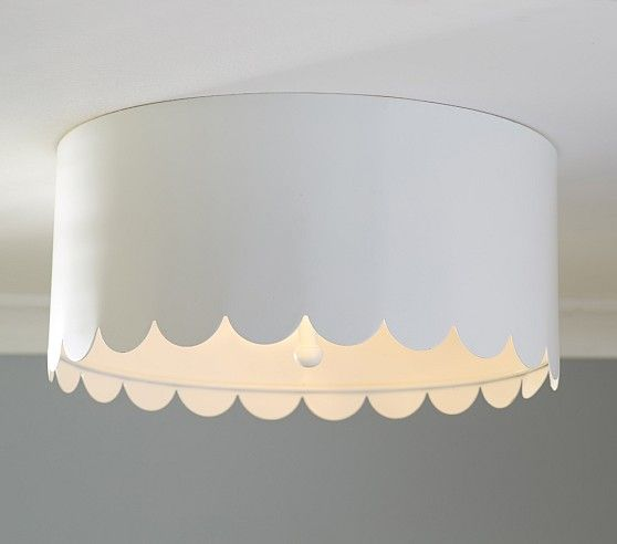 Scalloped White Metal Flush Mount | Pottery Barn Kids s119 - This would blend in ceiling. Cute