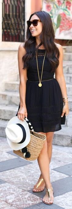 Black And Gold Summer Outfit by With Love From Kat. Women's Fashion and Style,  Summer Fashion, Summer Dress, Summer Styles, Black Dress, Women's Clothing, Women's Shoes, Women's Accessories, Atlanta, Washington DC, Dallas, California, Los Angeles, Miami, New York
