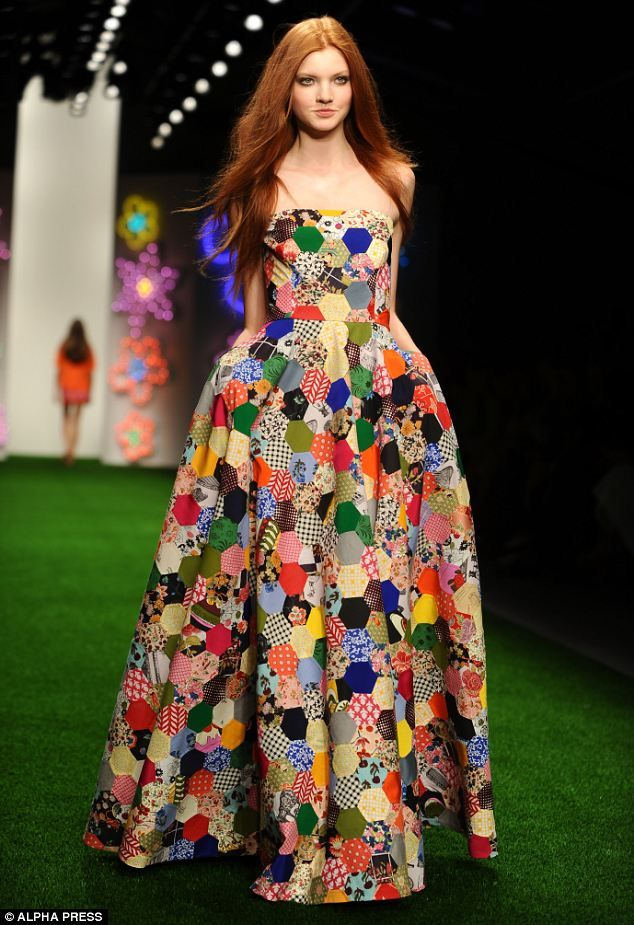 A patchwork maxi dress is perfect for an uber glamorous picnic or posing on a Hamptons porch - fabrics .. silk, suede, denim, leather, broderie anglaise, texture .. appliqué, embroidery patchwork sequins