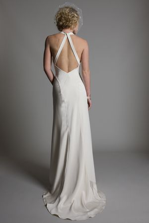 Back view of the Lucy cowl neck low open back A line crepe back satin bridal wedding dress by Halfpenny London