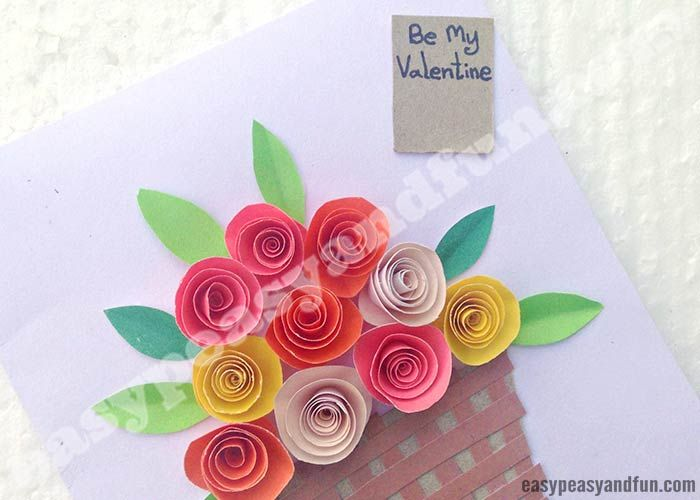 Diy Rolled Paper Roses Valentines Day Or Mother S Day Card Paper