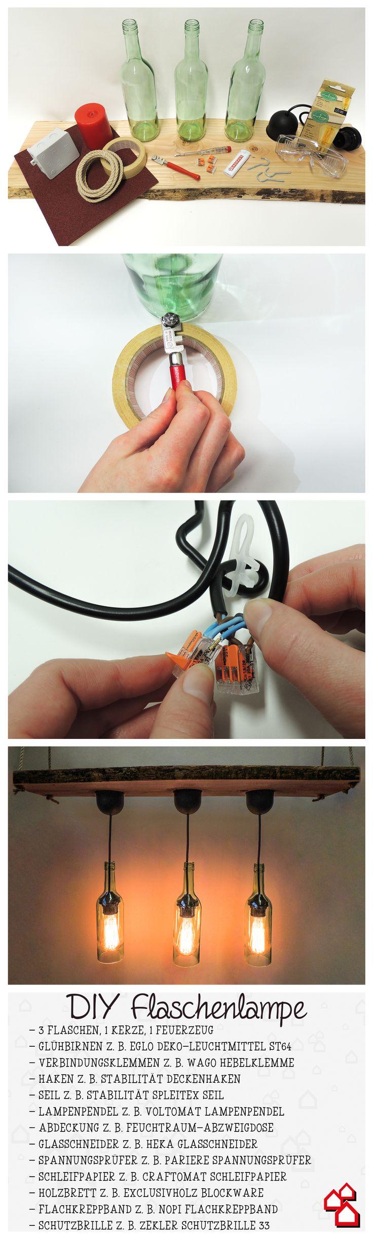 Unsere DIY Flaschenlampe bringt einen rustikalen Charme in die eigenen vier Wände.