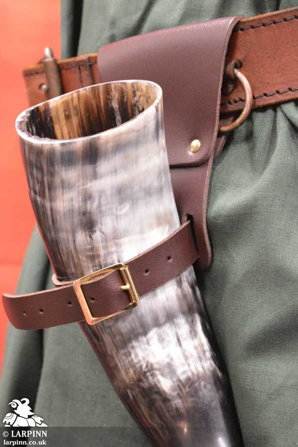 Buckled Drinking Horn Holder - Brown