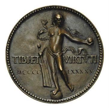 *Italy, Caterina Sforza-Riario (1463-1509), bronze medal (1495), draped bust left, rev., Fortune