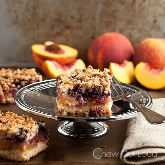 Peach and blueberry crumb bars