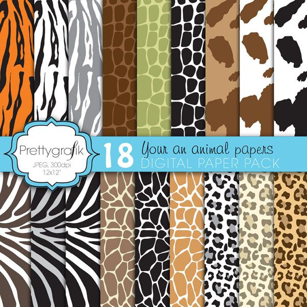 """Your an animal"""" paper pack features 18 papers in zebra, giraffe, crocodile, leopard, cow and tiger patterned papers in various colors. So let out your wild side and decorate all your fabulous projects."""