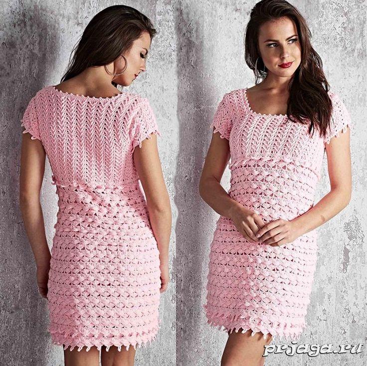 Платье крючком с оборками