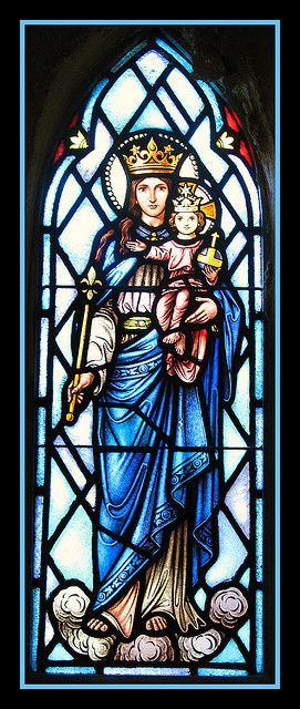 Blessed Mother and Child Jesus Stained Glass Window at Our Lady of Mount Carmel Catholic Church, Boonton, New Jersey
