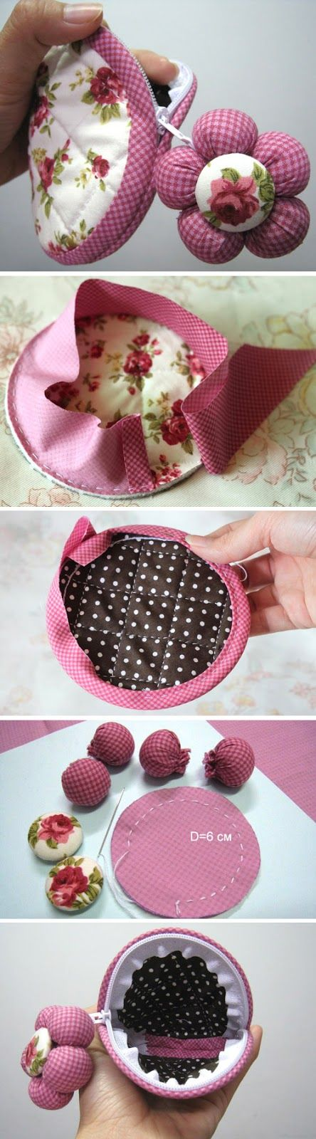 Circle Zip Pouch. Step by step photo DIY tutorial.  http://www.handmadiya.com/2015/11/circle-coin-case-tutorial.html
