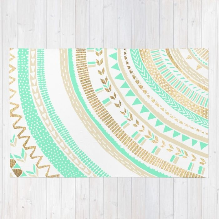 Buy Area & Throw Rugs with design featuring Mint + Gold Tribal by Tangerine-Tane and adorn your home with both style and comfort. Available in three sizes (2' x 3', 3' x 5', 4' x 6').