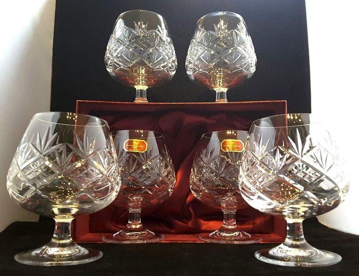 #Doulton #International~#France~SIX~#Hellene~Hand-Cut #Crystal~#Brandy Glasses~Mint! #NewYear #Party #Family #Friends #Style #Stylish #Art #USA #UK #London #Paris