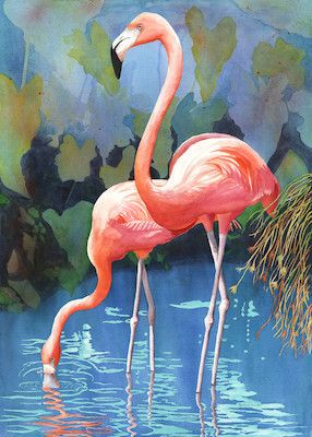 """Flamingos in Paradise"" - by Christine Reichow  (watercolor)"