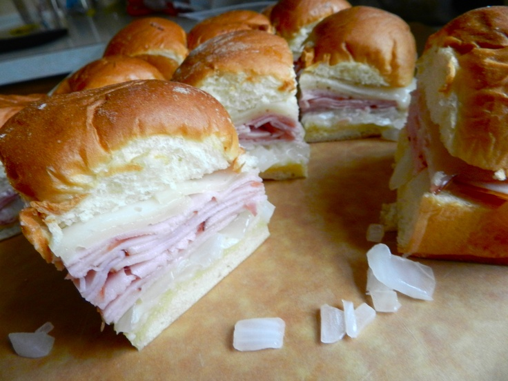 Hawaiian ham sliders -Kings Hawaiian sweet rolls, swiss cheese,cooked onions served warm...