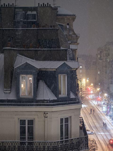 Snowy Night in Paris