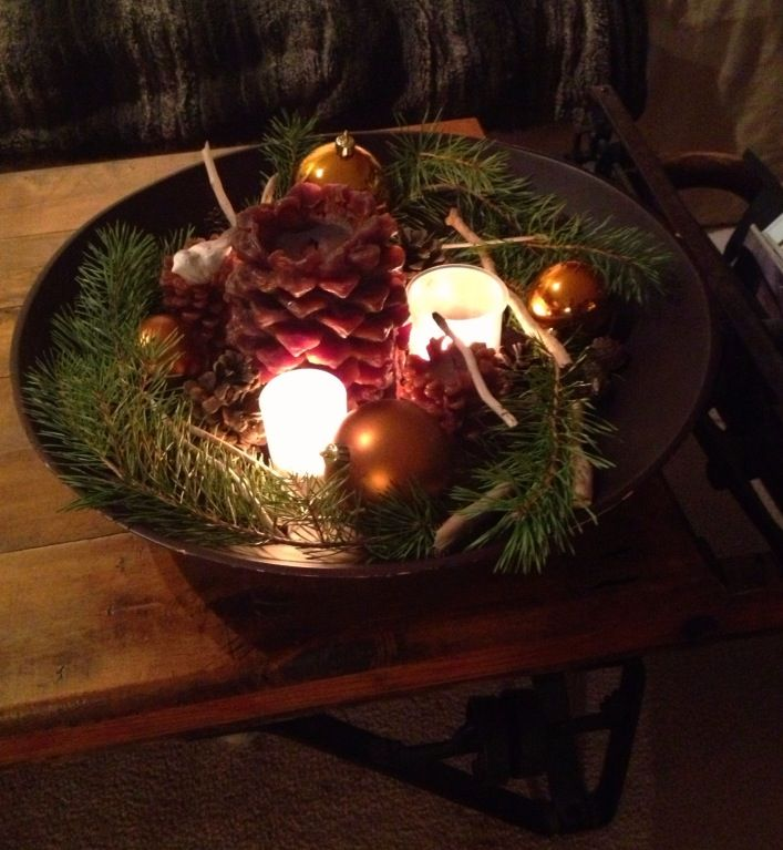 Wood bowl holiday decor