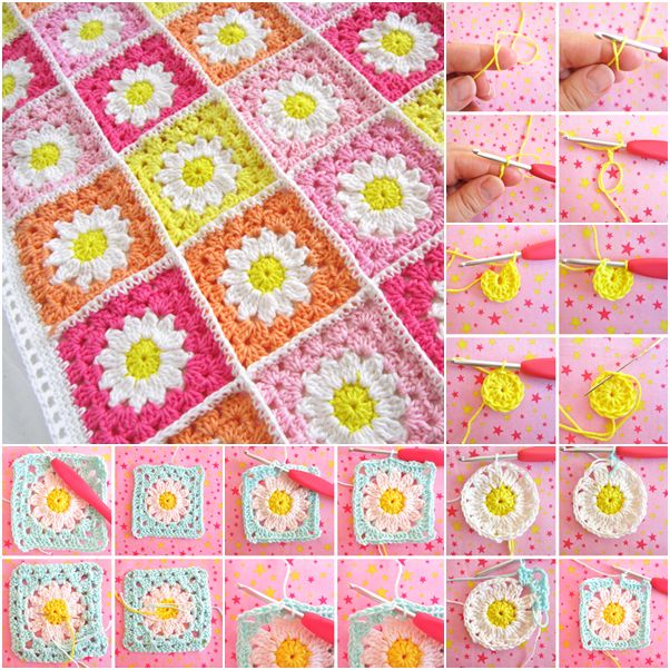 How to DIY Crochet Daisy Flower Square Blanket with Free Pattern | www.FabArtDIY.com
