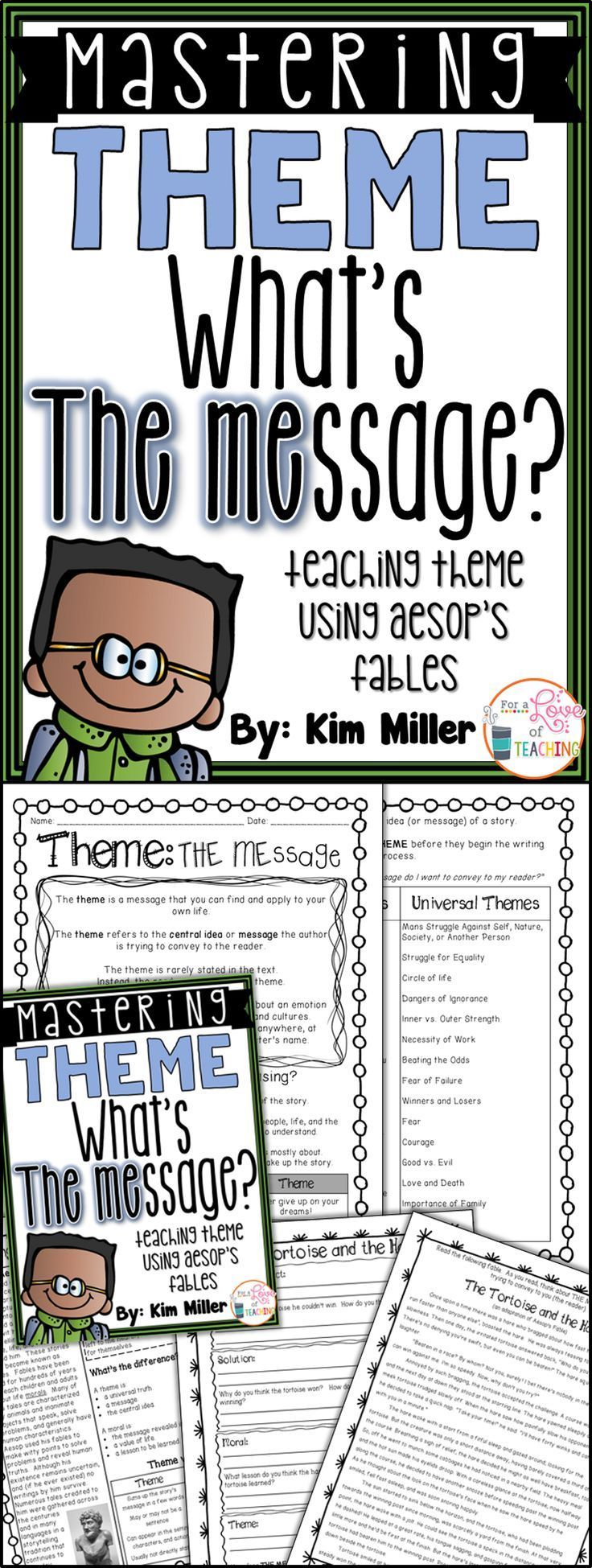 Mastering Theme *What's THE MEssage?* Teaching theme using Aesop's Fables helps students identify the theme easily!