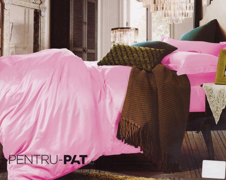 Lenjerie de pat 100% bambus Pucioasa roz