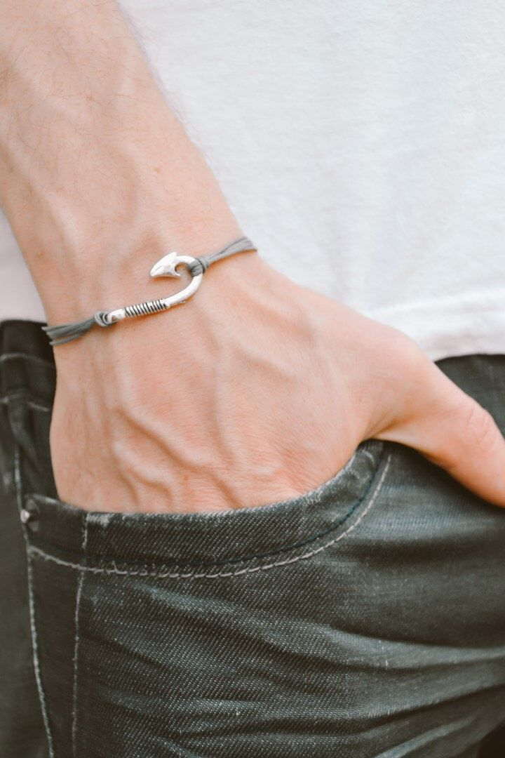 Men's bracelet, gray cord bracelet for men with silver hook charm, grey cord, bracelet for men, fish hook, gift for him, mens jewelry by Principles on Etsy https://www.etsy.com/uk/listing/232143807/mens-bracelet-gray-cord-bracelet-for-men