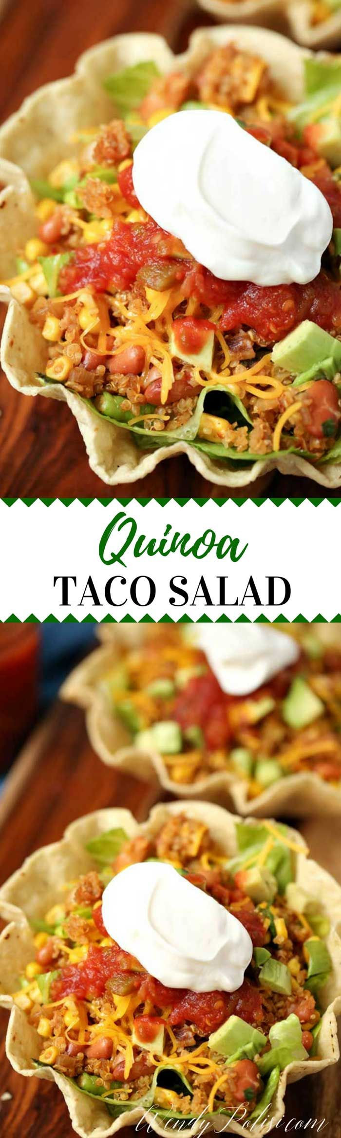 This Quinoa Taco Salad Bowl is a delicious and nutritious vegetarian meal that even meat eaters will love!  The perfect weeknight dinner. via @wendypolisi