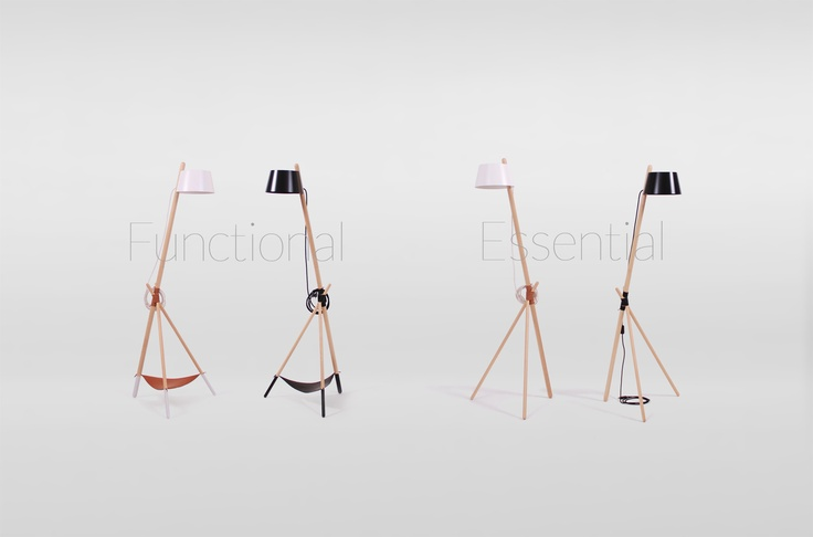 Ka M is a floor reading lamp made of beech wood by WOODENDOT.