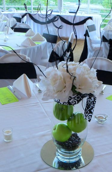 Green Apple Wedding Table Centerpieces
