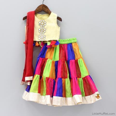 Pre Order: Multicolour Chanderi Lehenga Choli