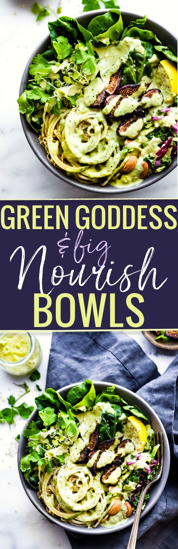 Quick and Easy Green Goddess Fig Nourish Bowls! These plant powered nourish bowls are packed with super greens, healthy  fats, nature's candy (Fruit and Figs), and topped with homemade green goddess dressing. They will fill you up and nourish you all at once. Paleo, Vegan, and Whole 30 friendly! http://www.cottercrunch.com