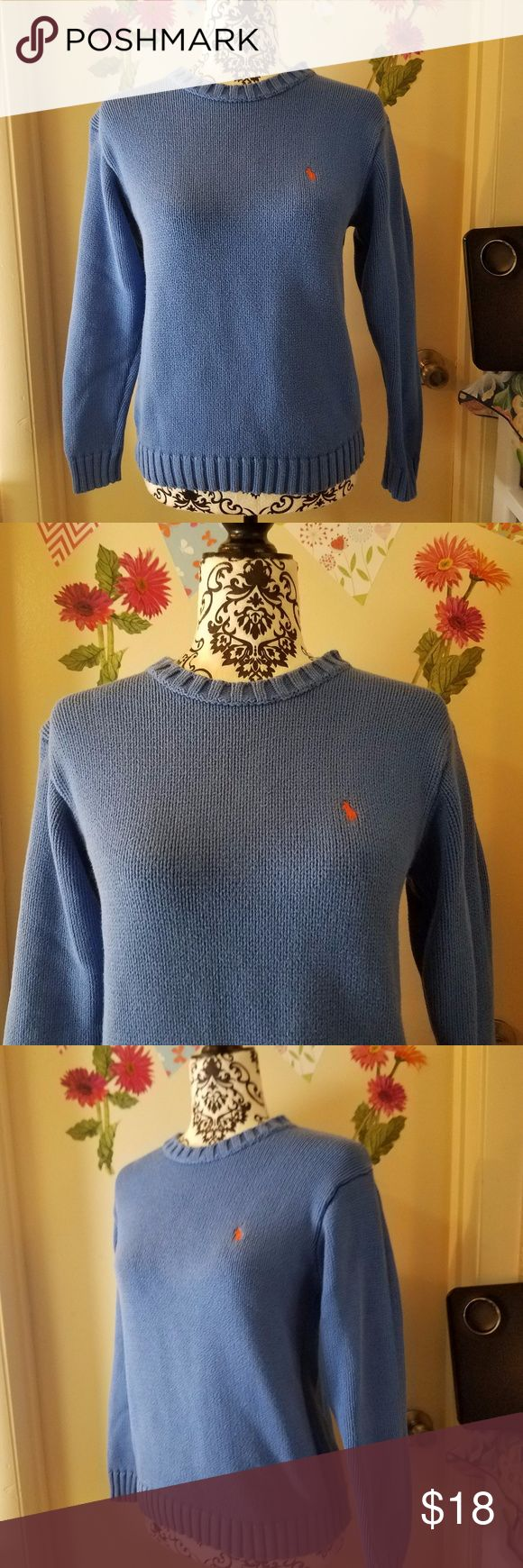 "SALE Polo by RALPH LAUREN Knit Pullover Sweater L Polo by RALPH LAUREN Knit Long Sleeve Pullover Sweater Junior Blue Cotton L Excellent Used  Condition   Beautiful knit long sleeve pullover, sweater  100% Cotton  Measurements:  Length: 22"" in Bust: 17.5"" in  Thank you for looking!  O-Too Polo by Ralph Lauren Shirts & Tops Sweaters"