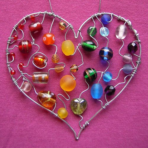 Beaded wire heart