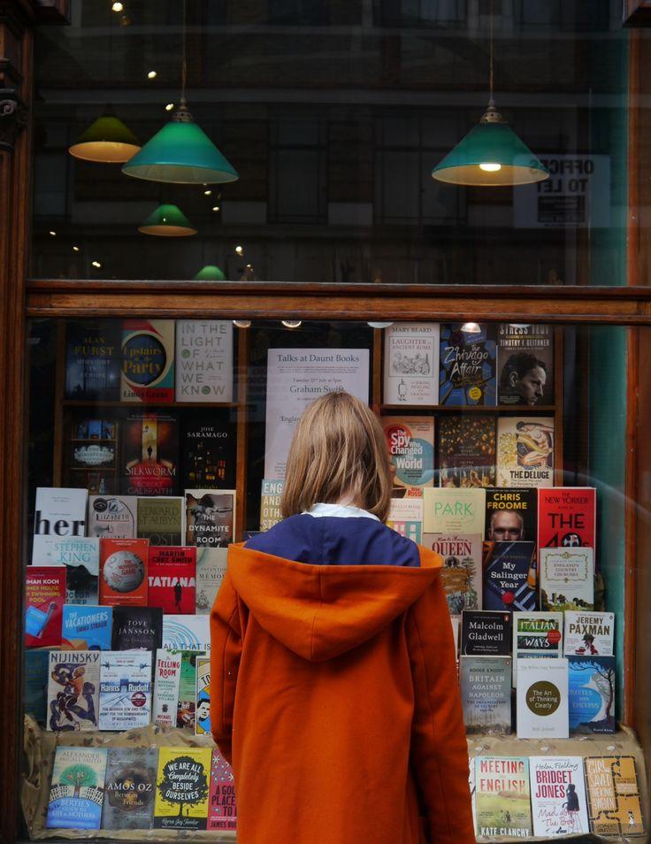 ellanmwebb2:  Martha siftingflour in front of Daunt books in Marylebone london for kinfolk city guides