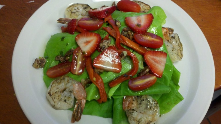 Grilled shrimp roasted red pepper and spiced pecans over bibb lettuce