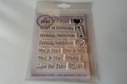 "1 x Wedding Words clear photopolymer stamp Set. Can be used with any inks. Pack size is A6 (approx. 4"" x 6""). Designed by Downland Crafts. €10.99"