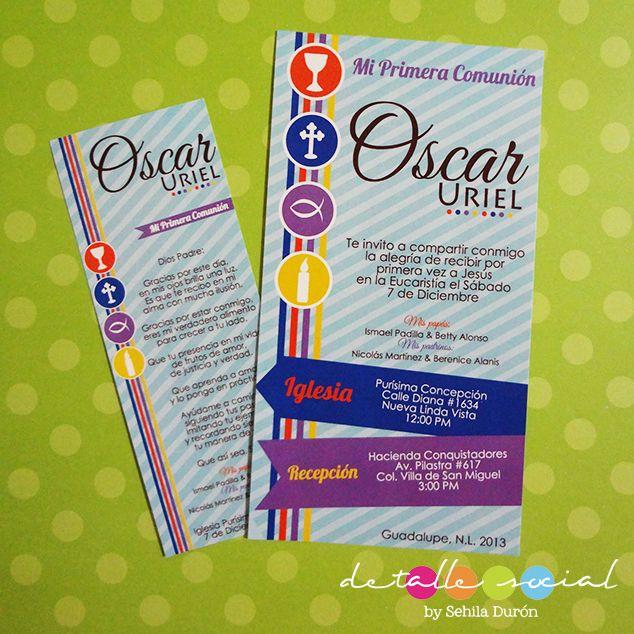 Invitaciones y oraciones de Comunión niño