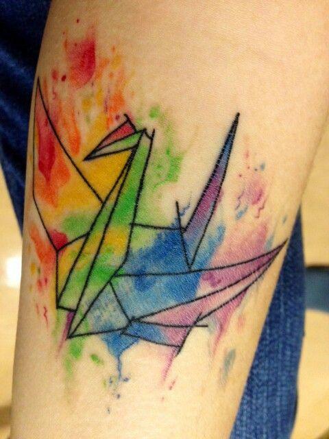 Origami crane watercolor | Tattoo | Pinterest