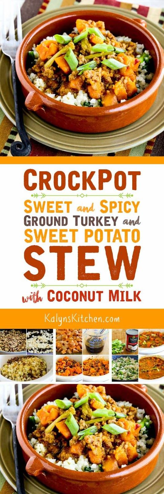 CrockPot Sweet and Spicy Ground Turkey and Sweet Potato Stew with Coconut Milk is a delicious slow cooker dish that cooks in about three hours. Serve over cauliflower rice or brown rice for a dinner that's low-glycemic, dairy-free, gluten-free, and South Beach Diet Phase Two. [found on KalynsKitchen.com]
