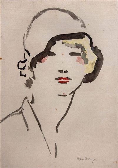 Kees van Dongen - Woman with Hat, Watercolor on paper on MutualArt.com