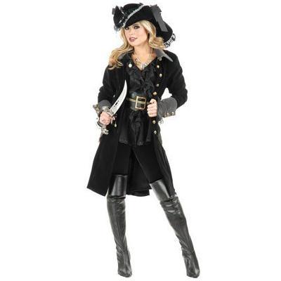 Women's Large Black Pirate Vixen Costume Long Jacket Coat