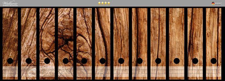 Ordnerrücken Sticker Holzstamm mit Asteinschluss in Premiumqualität - Größe 72 x 30 cm, passend für 12 breite Ordnerrücken