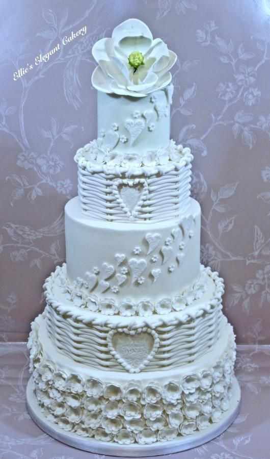 Traditional White Wedding Cake by Ellie @ Ellie's Elegant Cakery - http://cakesdecor.com/cakes/258161-traditional-white-wedding-cake