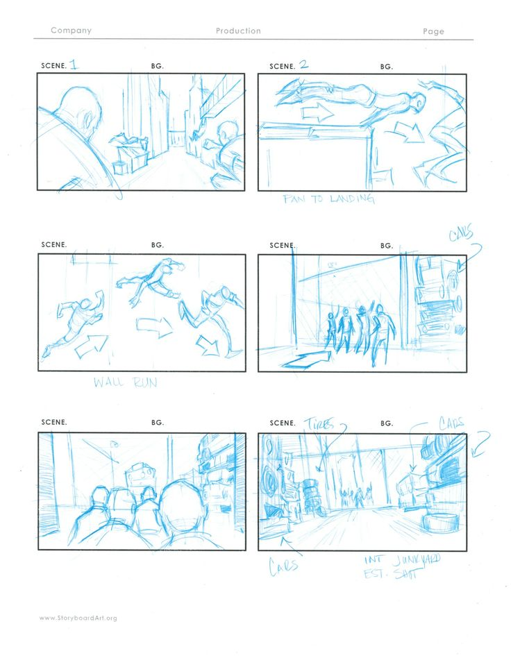 Chris Hawks Storyboards Freerunning sequence initial script - sample script storyboard